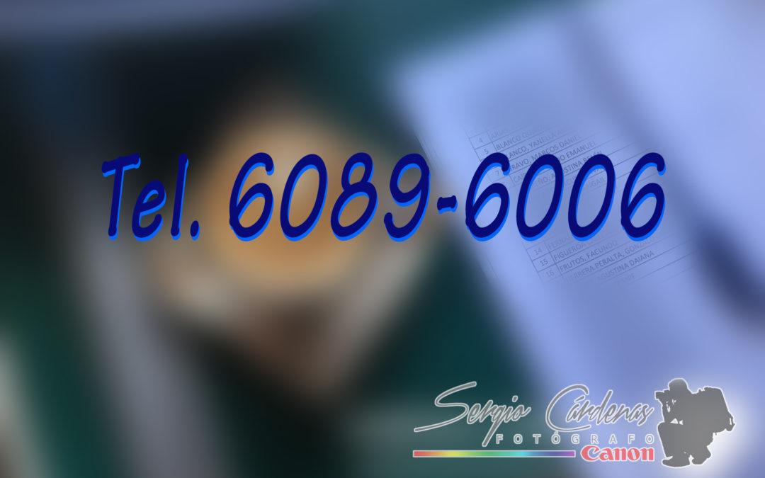 Nuevo Número de Teléfono de mí estudio:  Tel. 6089-6006